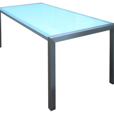 LED verlicht tafelblad met RVS onderstel