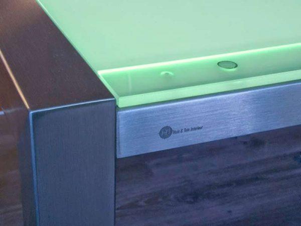 RVS tafelframe met LED verlicht tafelblad kleur groen
