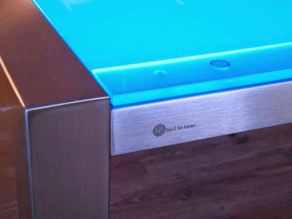 RVS tafelframe met LED lichtgevend tafelblad kleur blauw