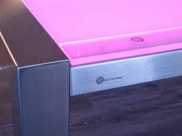 RVS tafelframe met lichtgevend tafelblad kleur roos